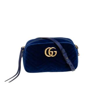 Gucci Blue Matelassé Velvet Small GG Marmont Camera Crossbody Bag