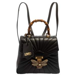 Gucci Black Leather Queen Margaret Bamboo Handle Backpack