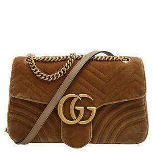 Gucci Beige GG Marmont Velvet Medium Shoulder Bag