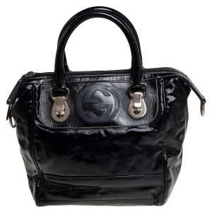 حقيبة غوتشي بوسطن سنو غالام جلد ديالوكس وكانفاس مطلية باللون الأسود
