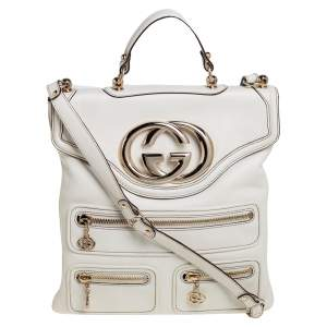 Gucci White Leather Britt Messenger Bag