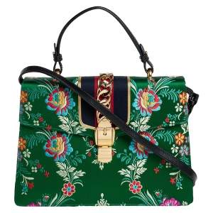 Gucci Green Satin Floral Brocade Sylvie Top Handle Bag