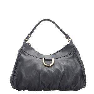 Gucci Black Leather Abbey D-Ring Hobo Bag
