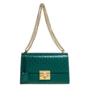 Gucci Green Guccissima Leather Medium Padlock Shoulder Bag