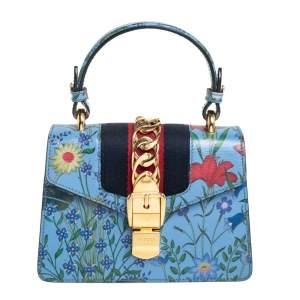 Gucci Blue Floral Print Leather Mini Web Sylvie Top Handle Bag