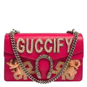 Gucci Pink Leather Guccify Pearl Embellished Dionysus Shoulder Bag