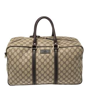 Gucci Beige/Brown GG Supreme Canvas and Leather Large Joy Boston Bag