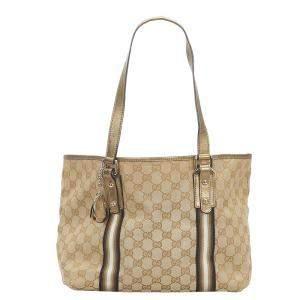 Gucci Beige Canvas Leather Jolicoeur Shoulder Bag