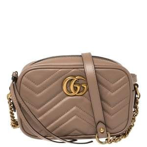 Gucci Beige Matelasse Leather Mini GG Marmont Crossbody Bag