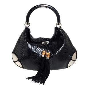 Gucci Black Python and Suede Large Babouska Indy Hobo