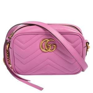 Gucci Pink Matelasse Leather Mini GG Marmont Crossbody Bag