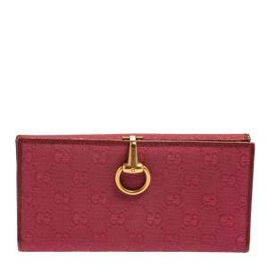 Gucci Fuchsia GG Canvas and Leather Horsebit Clasp Continental Wallet