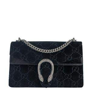 Gucci Black Velvet Dionysus Shoulder Bag