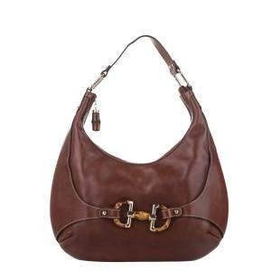 Gucci Brown Leather Horsebit Amalfi Hobo Bag