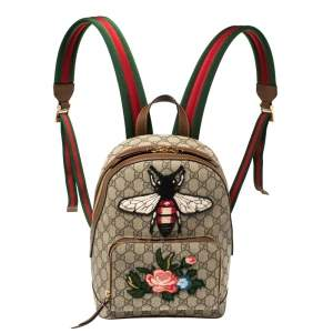 Gucci Beige/Brown Bee Embroidered GG Supreme Canvas and Leather Small Day Backpack