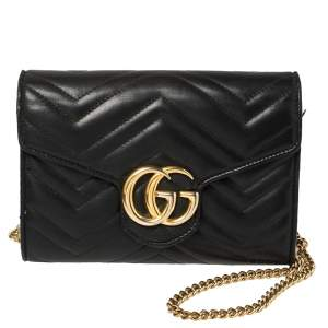 Gucci Black Matelasse Leather Mini GG Marmont Chain Clutch