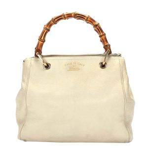 Gucci White Leather Bamboo Shopper Satchel Bag