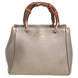 Gucci Metallic Gold Leather Mini Bamboo Tote