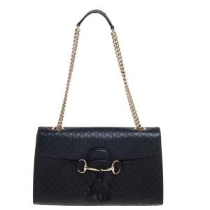 Gucci Black Microguccissima Leather Medium Emily Chain Shoulder Bag