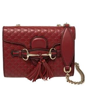 Gucci Red Microguccissima Leather Mini Emily Chain Shoulder Bag