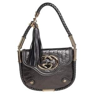 Gucci Metallic Gunmetal Guccissima Leather Small Britt Shoulder Bag