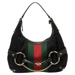 Gucci Black GG Canvas and Leather Horsebit Web Hobo