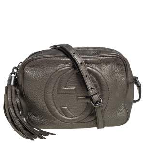 Gucci Metallic Olive Green Leather Soho Disco Crossbody Bag