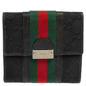 Gucci Black GG Canvas and Leather Trim Web Compact Wallet