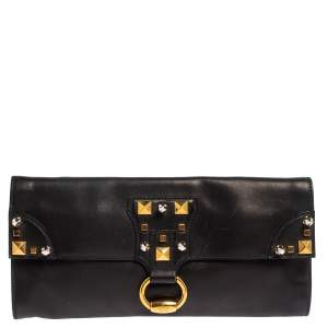 Gucci Black Leather Studded Clutch