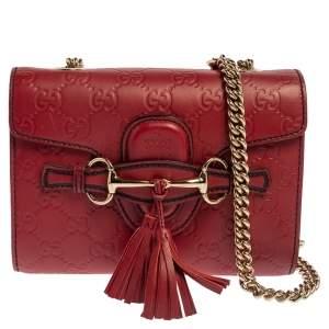 Gucci Red Guccissima Leather Mini Emily Chain Shoulder Bag
