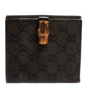 Gucci Black GG Canvas and Leather Bamboo Bar Compact Wallet