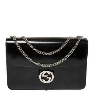 Gucci Black Polished Leather Interlocking G Shoulder Bag