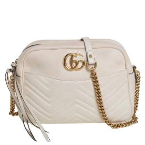 Gucci Off White Matelasse Leather Medium GG Marmont Shoulder Bag