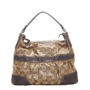 Gucci Beige/Brown GG Crystal Coated Canvas and Leather Mix Hobo Bag