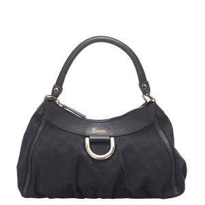 Gucci Black GG Canvas Abbey D-Ring Shoulder Bag