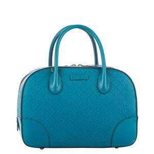 Gucci Blue Diamante Leather Bright Top Handle Bag