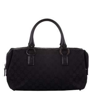 Gucci Black GG Canvas Boston Bag