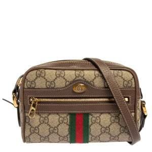 Gucci Beige/Ebony GG Supreme Canvas and Leather Mini Ophidia Crossbody Bag