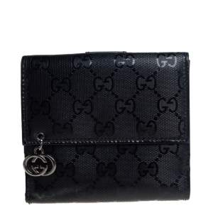 Gucci Black GG Imprime Coated Canvas Interlocking G Flap French Wallet