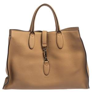 Gucci Tortilla Brown Pebbled Leather Large Jackie Tote