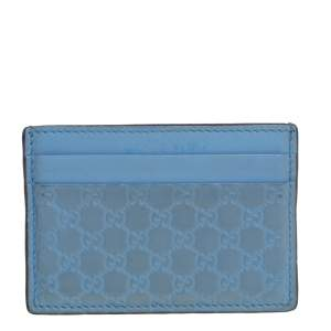 Gucci Blue Microguccissima Leather Card Holder