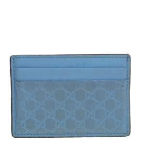 Gucci Blue Microguccissima Leather Card Holder