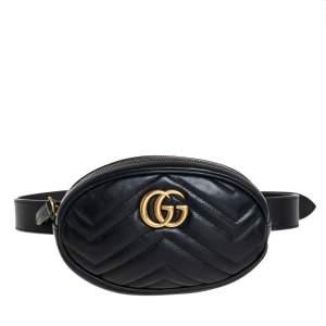حقيبة خصر غوتشي جي جي مارمونت جلد متعرج أسود