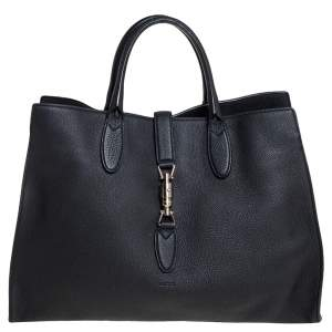 Gucci Black Leather Medium Jackie Tote
