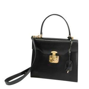 Gucci Black Leather Vintage Lady Lock Tote Bag