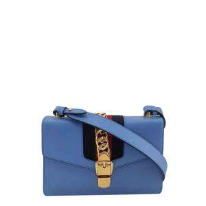 Gucci Blue Leather Small Sylvie Shoulder Bag