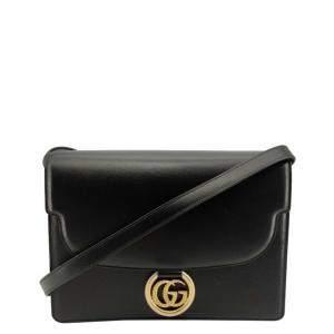 Gucci Black Leather Ring Shoulder Bag