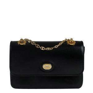 Gucci Black Leather Marina Chain Flap Bag