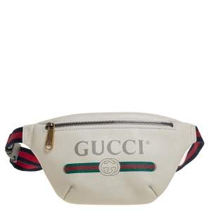 Gucci Off White Leather Small Logo Web Belt Bag