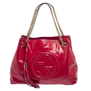 Gucci Fuchsia Patent Leather Medium Soho Shoulder Bag